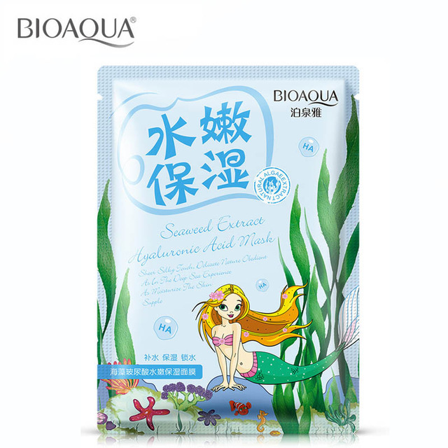 HOT BIOAQUA Face CareSeaweed Hyaluronic Acid Whitening Skin Care Moisture Face Mask Go Oil Pore Cosmetics Treatment Mask Beauty