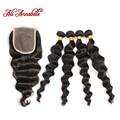 Annabelle Hair Products Malaysian Virgin Hair 4 Bundles With Closure Malaysian Loose Wave Human Hair 8A Malaysian Loose Curly