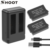 SHOOT 2Pcs ASBBA 001 2720mAh Battery for GoPro Fusion with Dual USB Charger ASBBA 001 for Go Pro Fusion 360 Degree Action Camera