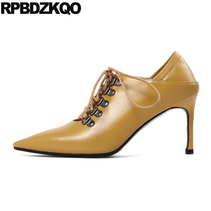 2d651bab6dbc2e Ladies Pointed Toe Tie Up Yellow Luxury Bdsm Mules Slipper Genuine Leather  Lace Gladiator Pumps Catwalk High Heels Shoes Scarpin