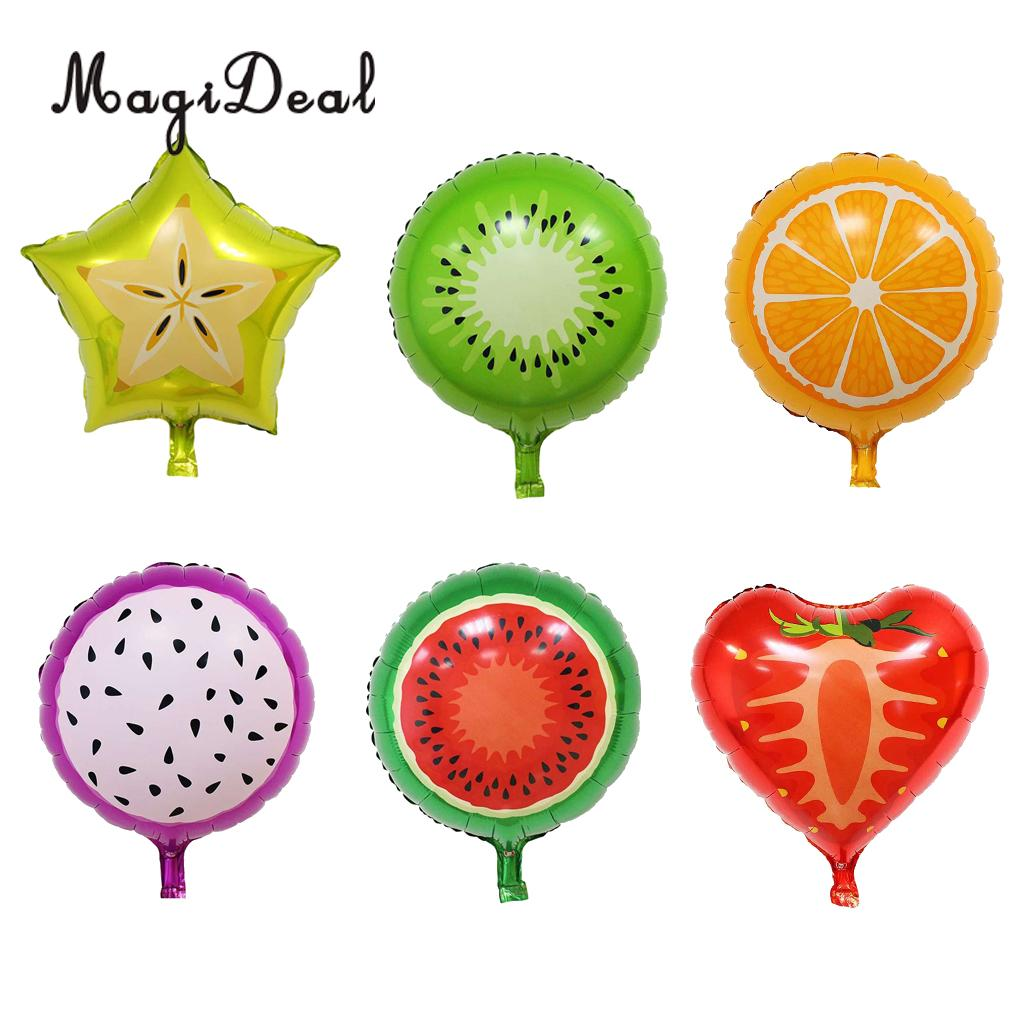 6x Tutti Fruit Foil Balloons Strawberry Watermelon Orange Carambola Pitaya Balloon Tropi ...