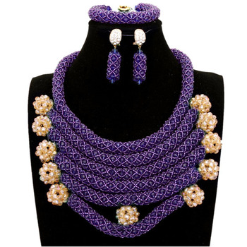 Dudo Store Fine Jewelry Sets For Women Purple / Green / Sage Ladies African Necklace Multi- Layers Free Shipping 2019 Latest