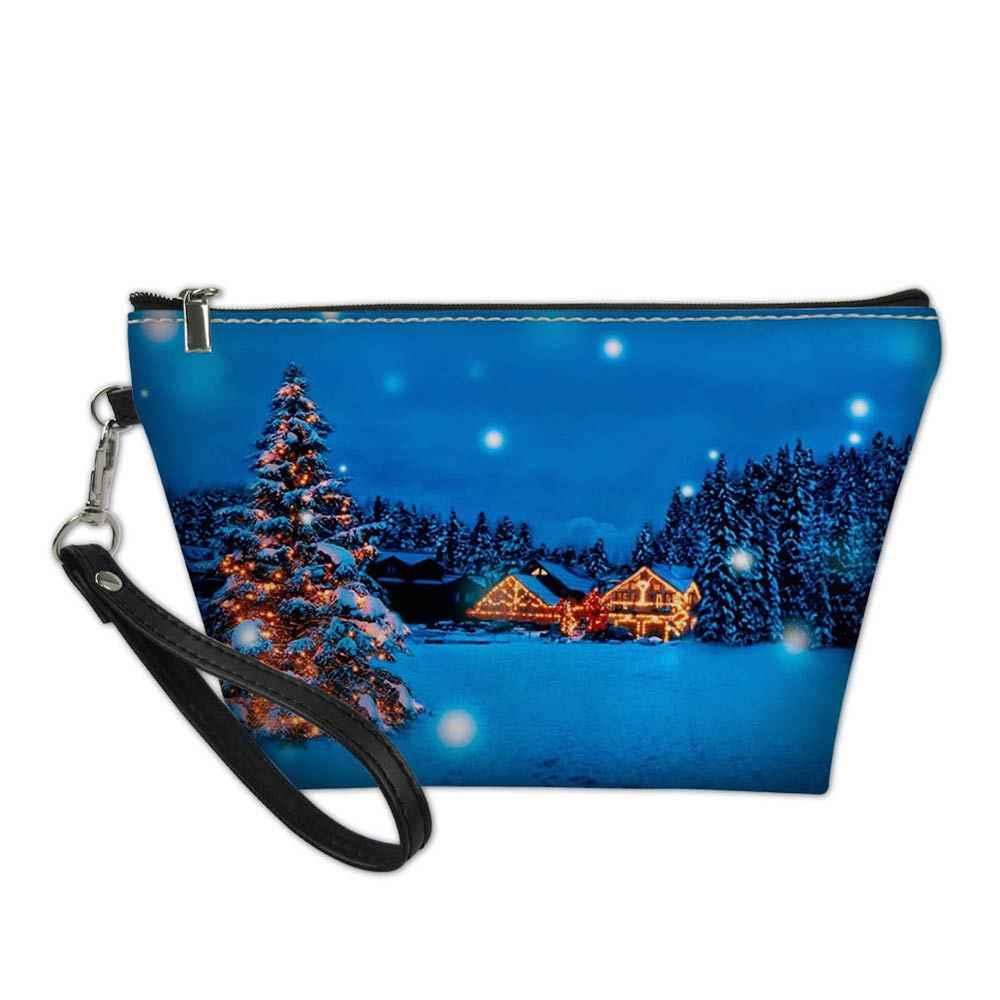 3D 漫画メリークリスマスプリントデザイナーの化粧品袋美容メイク旅行主催バッグメイクアップケース