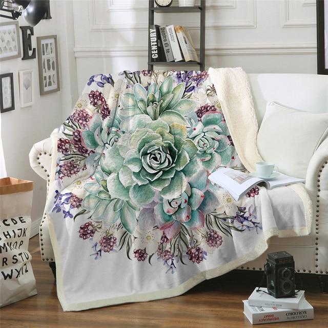 Green Succulents Throw Blanket Mandala 3D Sherpa Fleece Bedding Velvet Plush Flower Plant Blanket for Beds