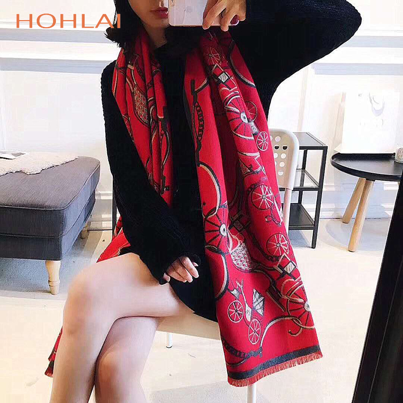 Autumn Winter Carriage Warm Thicken Scarf Women Luxury Brand Big Pashmina Cashmere Poncho Blanket Wrap Wool Bandana Hijab Shawl
