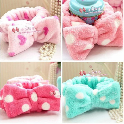 Free shipping New Multifunctional Flannelette Bows Elastic Headband for Bath Shower tool Exercise Headwear Hair Accessories GYH 15pcs lot stretch elastic tutu headbands diy headband hair accessories 1 5 inch crochet headband free shipping 33colors in stock