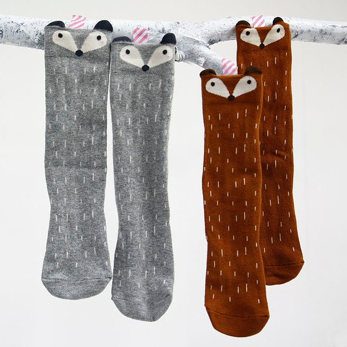 Bosudhsou C50# Kids Fox Socks Leg Warmers children Knee High socks Cartoon Designer socks Baby Girl Children Kawaii Sock