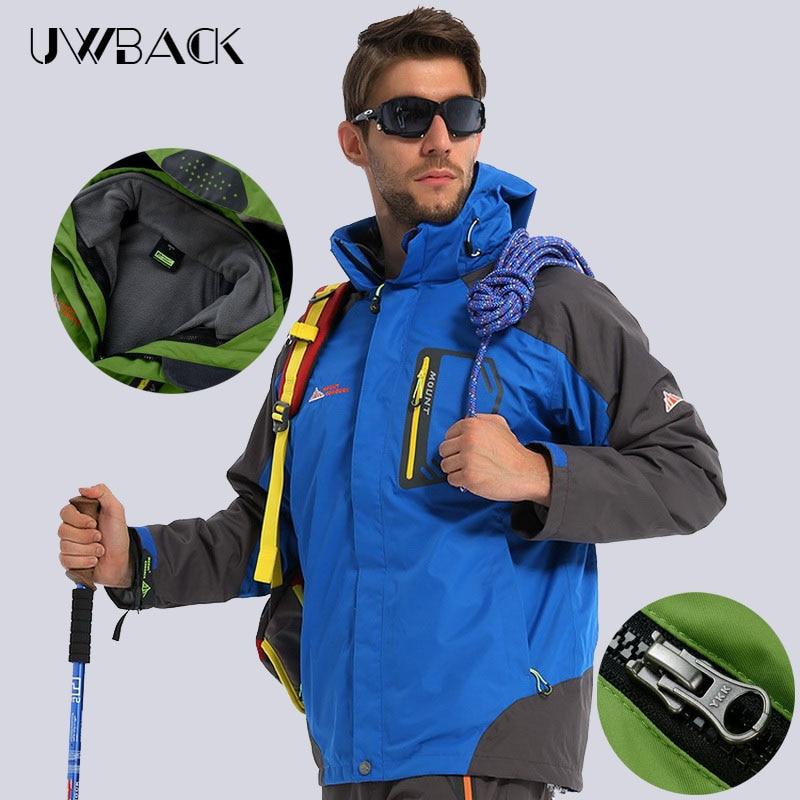 ФОТО Men's Winter 3 In 1 Hiking Jackets Men Outdoor Ski Rain Coats Warm Hunting Climbing Windbreaker Trekking Waterproof Jacket,UA069