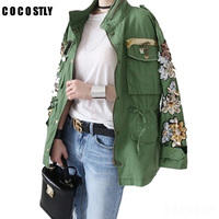 2018 Army Green Cotton Jackets Women flower Embroidery And Sequins Denim Jacket Jeans Coats Boyfriend Outwear Chaqueta