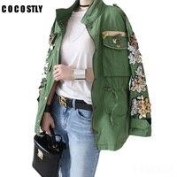 2018 Army Green Cotton Jackets Women flower Embroidery And Sequins Denim Jacket Jeans Coats Boyfriend Outwear Chaqueta