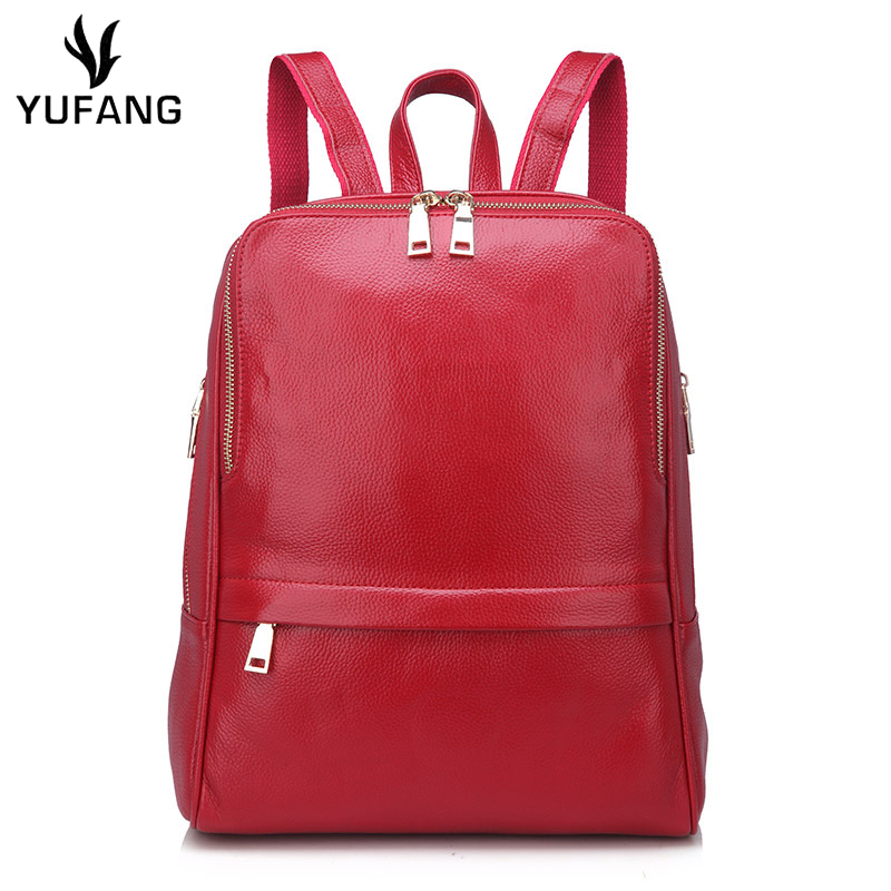 YUFANG Natural Leather Women s Backpack Genuine Leather Travel Bag Female New Designer Laptop Backpack Solid