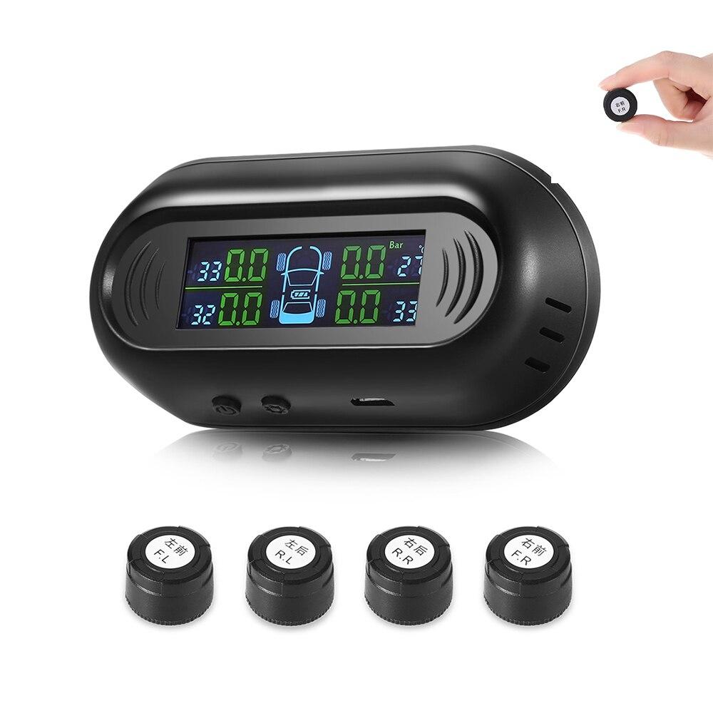 Rectangle G50 voiture solaire alimenté TPMS système de surveillance de pression des pneus de voiture écran LCD 4 capteurs USB externes Mini-conception de puissance