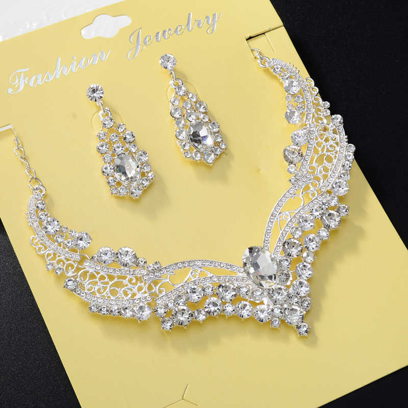 Wedding Jewelry Imitation Pearls Bridal Jewelry Sets for Bride Tassel Silver Plated Choker Bib Prom Necklace Earrings Set