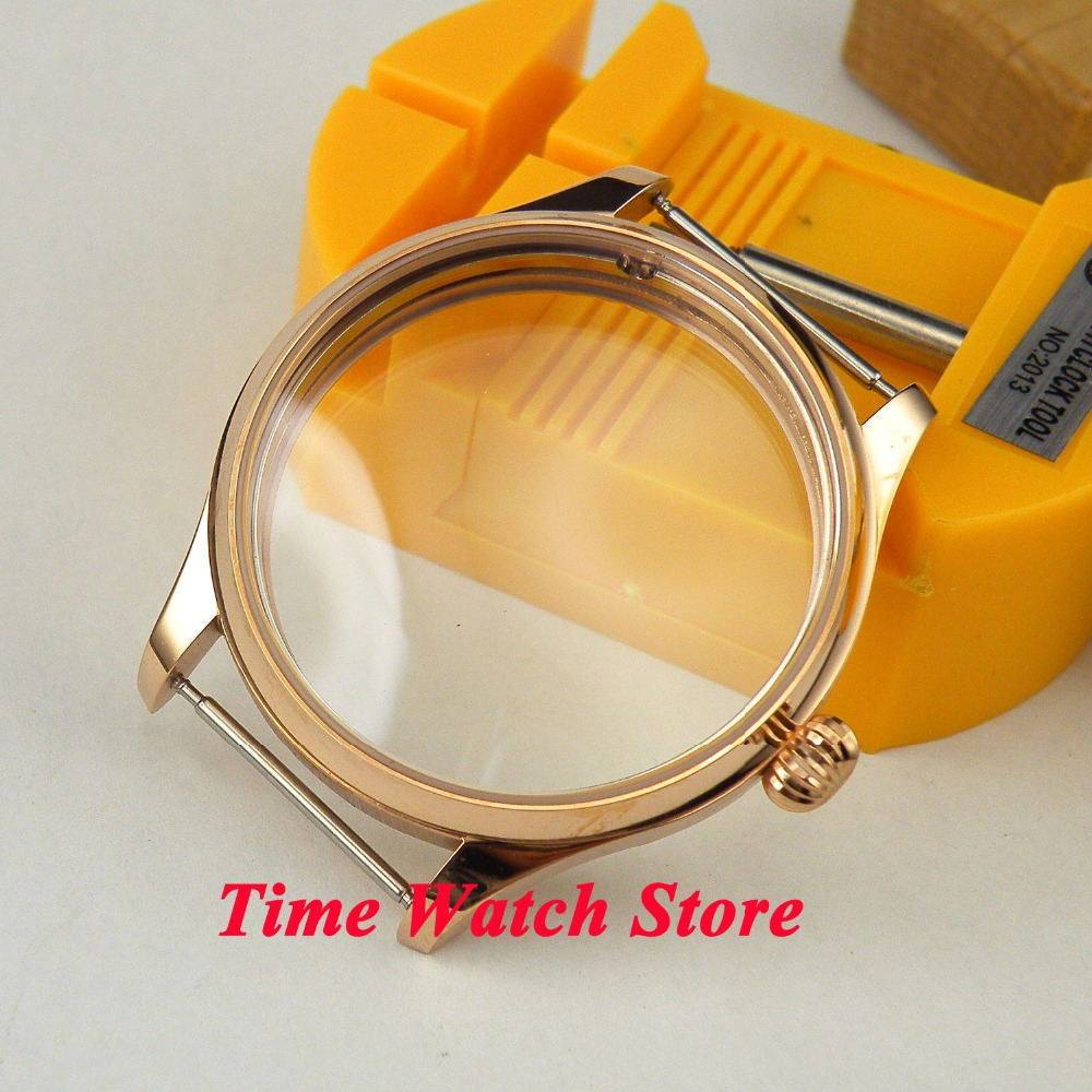 New high quality 44mm rose golden stainless steel Watch Case fit 6497 6498 EAT movement C12 все цены