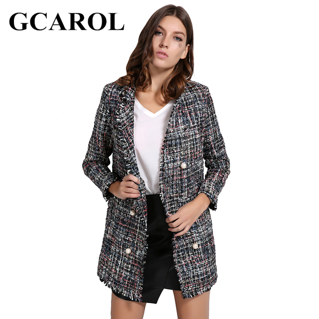 GCAROL Euro Style OL Autumn Winter Pearl Buttons Blazer High Quality Notched Collar Long Tweed Jacket Open Stitch Outwear