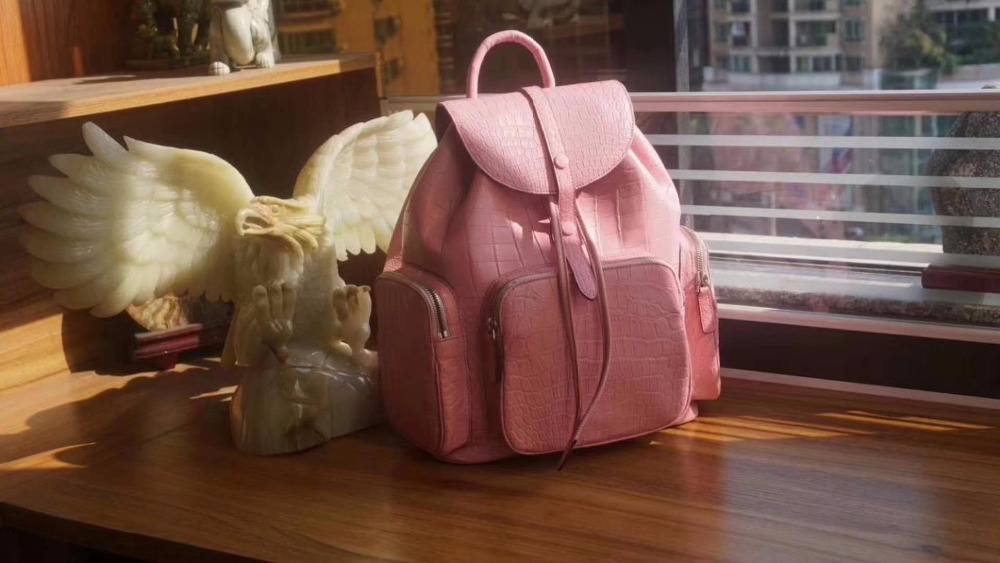 2018 fashion genuine real matt crocodile python skin leather women leisure backpack small daily bag pink green purple color 2018 fashion genuine real crocodile skin