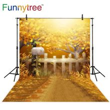 Funnytree backdrop photocall trees fence shine outdoor autumn scenery photo background photography studio shoots prop photophone
