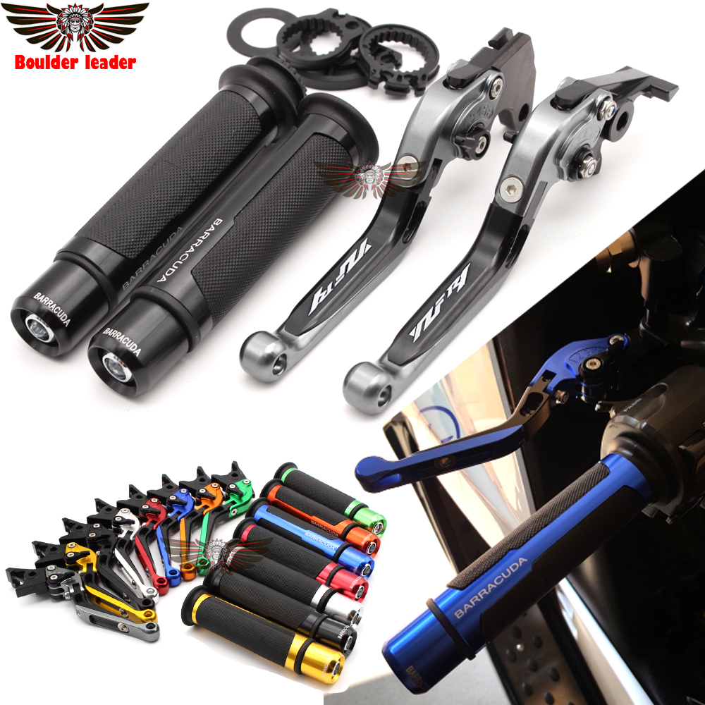Motorcycle Adjustable Folding Brake Clutch Levers Handlebar Hand Grips For Yamaha YZF R1 2004 2005 2006 2007 2008 Logo(YZF R1)