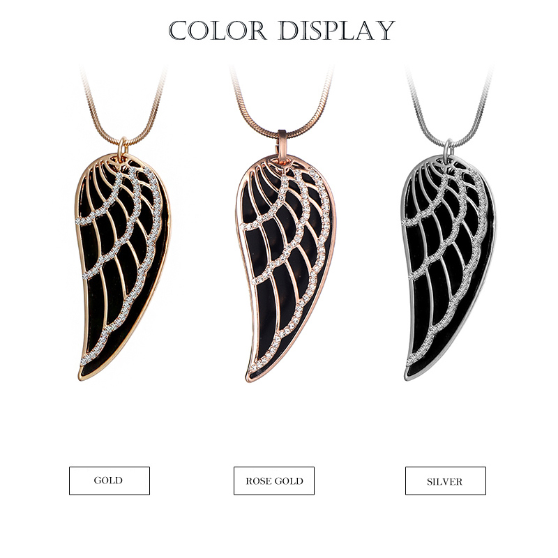 New 2018 Crystal Luxury Feather Angel wings Long Necklaces Pendants Rose Gold Fashion Collier Jewelry for women Dropshipping 24