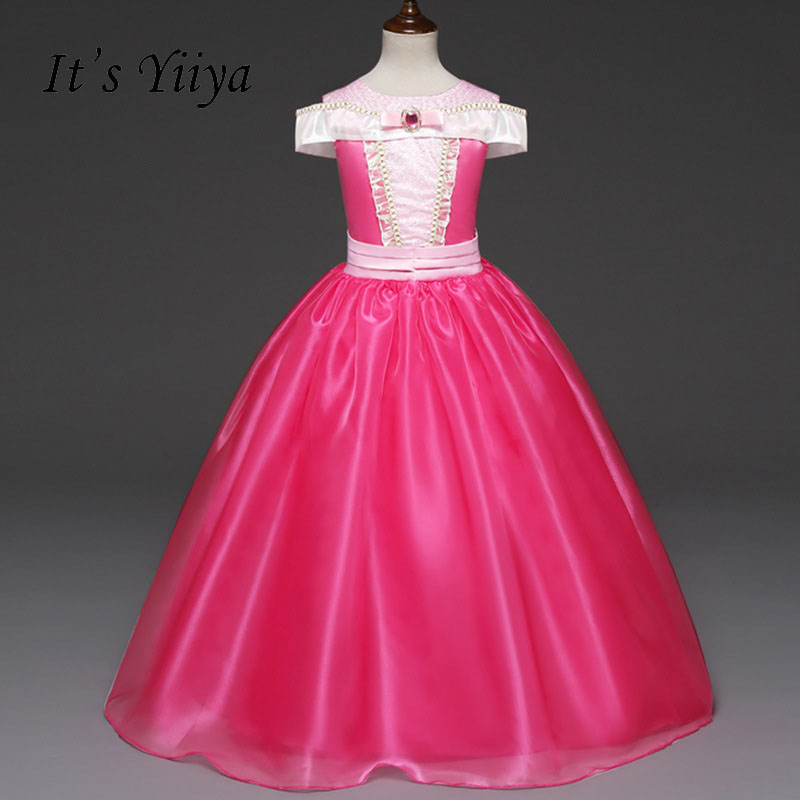 It's yiiya Fashion Bow Crystal Floor Length Kid Child Clothing Princess   Flower     Girl     Dresses   Elegant For Party   Girl     Dress   S124
