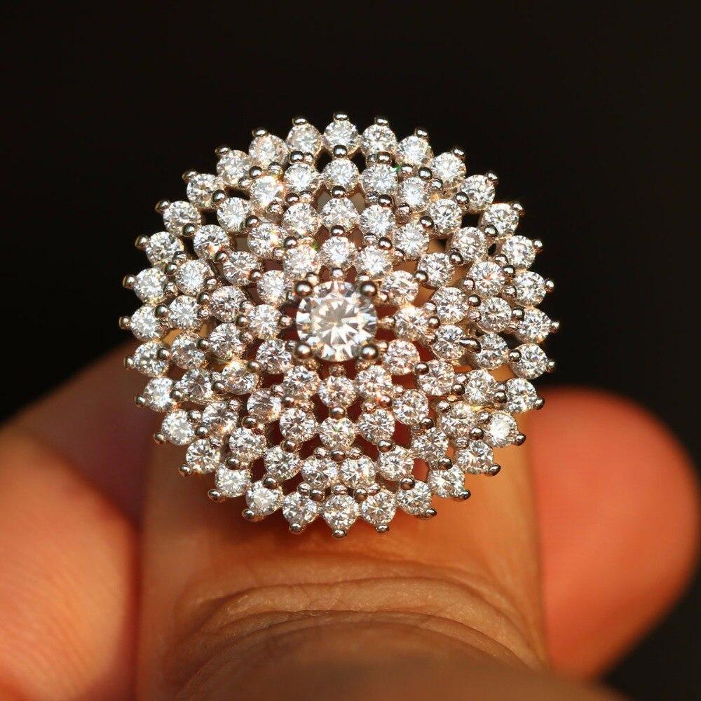 925 en argent Sterling belle conception anneau grand rond de luxe tendance bijoux nouveau assortiment goutte d'eau cristal femme bijoux amour R