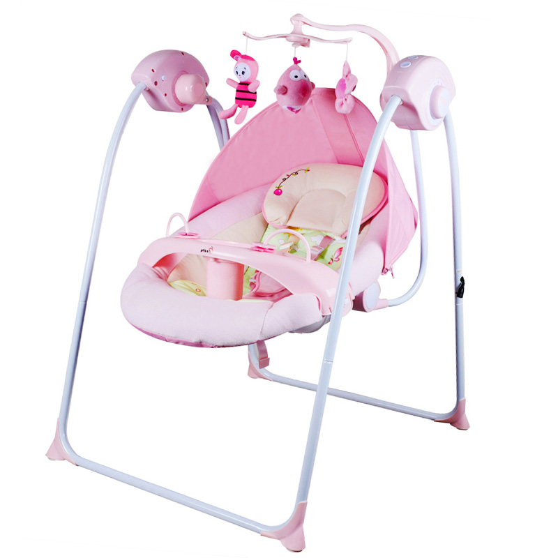 Infant baby electric rocking chair thicken steel frame high load bearing baby cradle prevent baby spitting milk baby electric cradle frame steel frame controller with basket and swingger can load 100kg cradle frame
