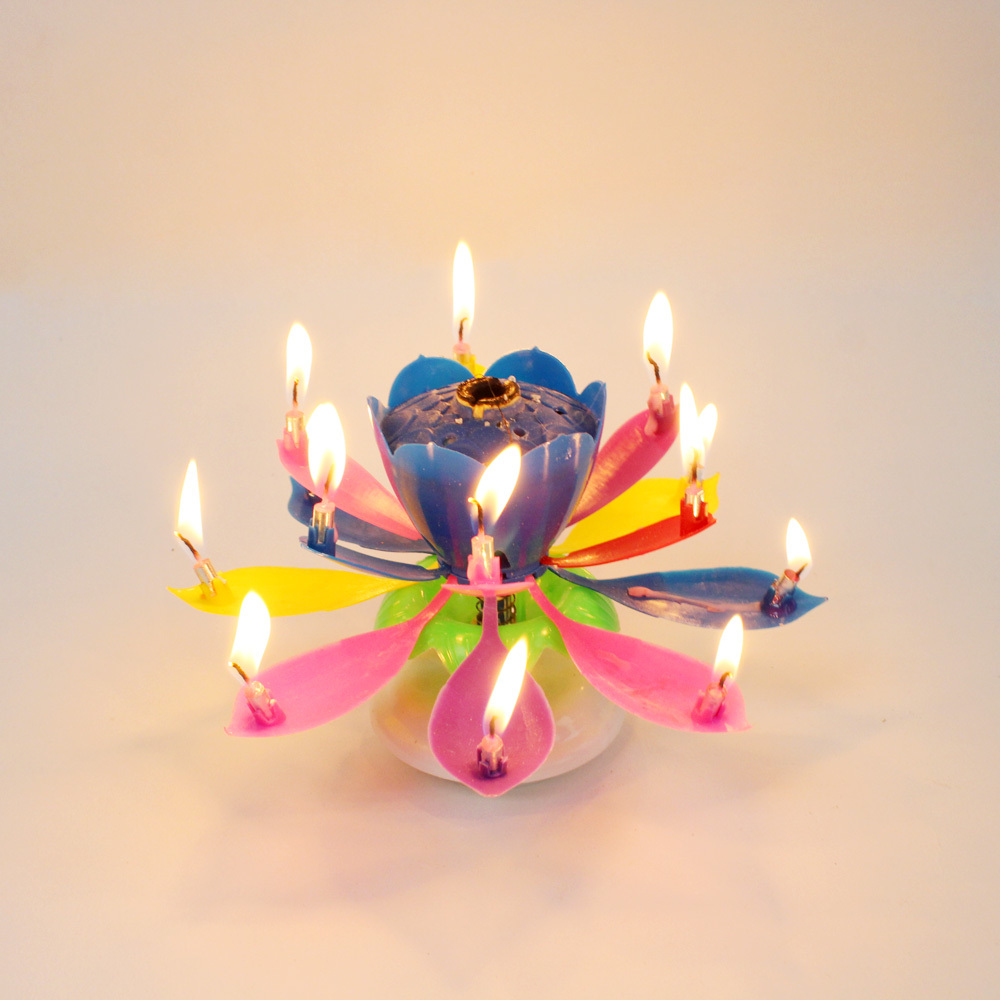 Amazing Romantic Musical Lotus Rotating Happy Birthday Candle 14 Rainbow In Candles From Home Garden On Aliexpress