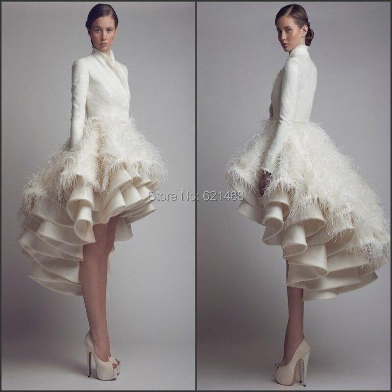 Latest Evening Gown Designs Feather Dress Long Sleeve Formal Ball Front Short Back short dress 2017 - SOPHOENIYA Wedding Factory store