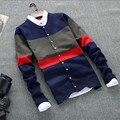 Новая осень зима 2017 мужская мода бутик хлопок кардиган досуг вязание свитера/Мужчины Контрастность цвет повседневная свитер