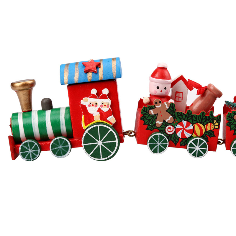 New year Christmas Train Printed Wooden Christmas Decoration Home Decor with Santa/bear Kid Toys Gift Ornament Drop Shipping