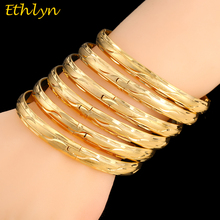 Ethlyn 6Piece/Lot Mauritius Light Weight  Wedding Party Gold Color Openable African Women Jewelry Luxury Bangles B043