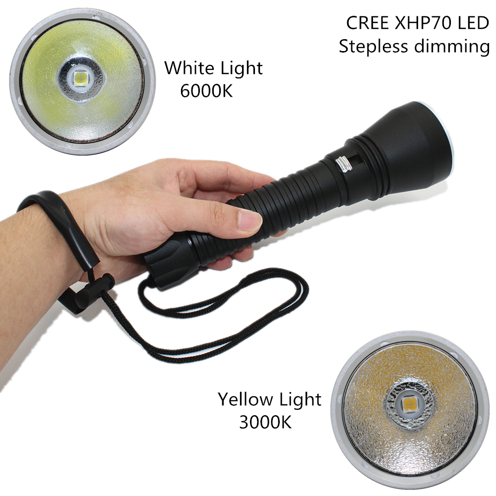 Ultra Bright LED Diving flashlight CREE XHP70 Flashlight linternas Underwater waterproof lamp 26650 Torch Scuba lantern