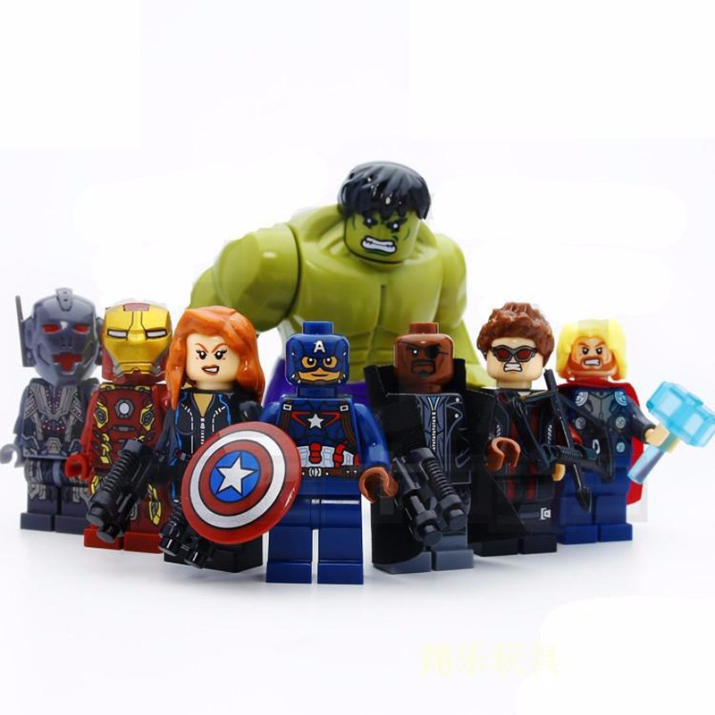 8Pcs Iron Man & Hulk & Thor & Captain America Characters Human Figure Blocks Building Bricks Toys For Children Compatible Legoe lecgos 8pcs lot captain america iron man building blocks sets children model bricks toys lecgos compatible