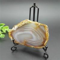 Large NATURAL Agate Hole Slice Polishe Crystal Quartz Display Polished Reiki Healing Fengshui Decorations Stand