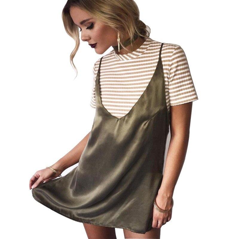 c70c02ddb20 2017 New Fashion Sexy V Neck Satin Slip Summer Dress Sleeveless Mini Halter  Evening Bodycon Club Wear Female Party Dresses-in Dresses from Women's  Clothing ...