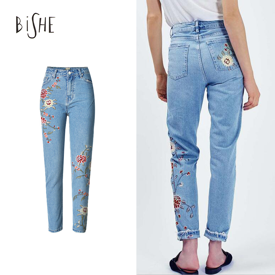 ФОТО Jeans With Embroidery Mom Jeans Pantalon Femme Flower Denim Jeans Female Boyfriend For Women Bleached High Waist Ladies Trousers