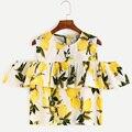 Algodão de linho verão fora os topos de ombro para as mulheres do sexo feminino casual plissado estampa floral t-shirt top colheita clothing 2016