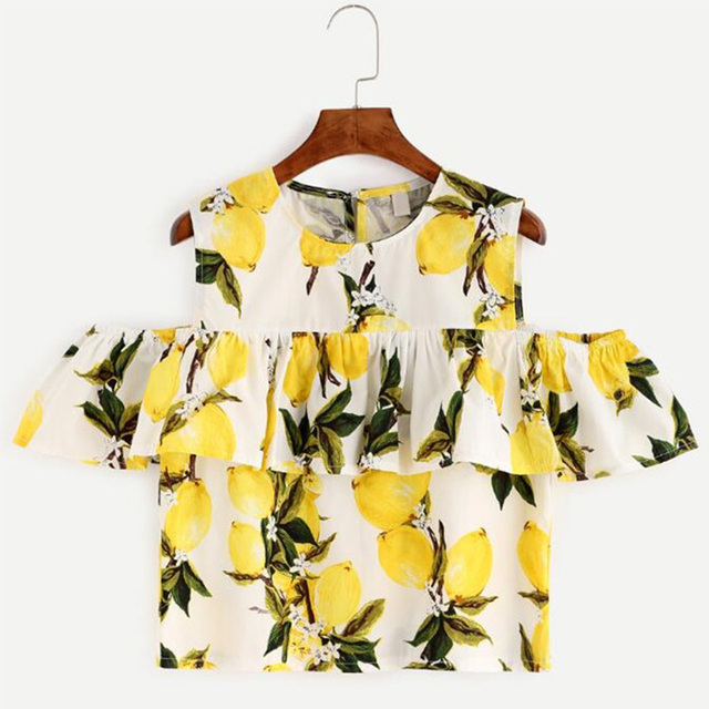 Cotton Linen Summer Off The Shoulder Tops For Women Female Casual Ruffle Floral Print T-Shirt Crop Top Clothing 2016
