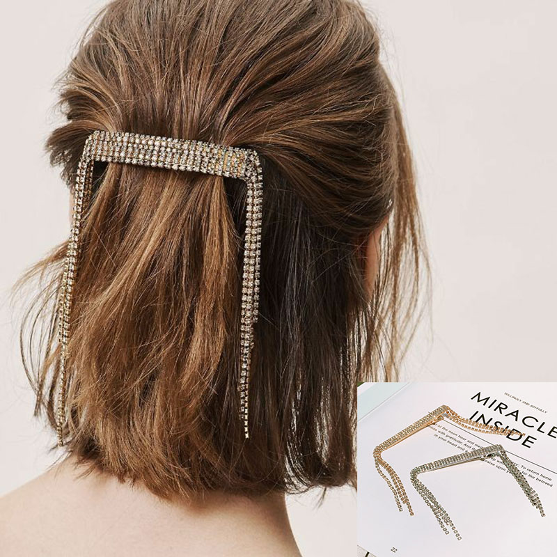 Hot Sale Girls Elegant Gold Silver  Color Alloy With Crystal Hair Clips Barrettes Hairpins Female Hair Styling Accessories F012