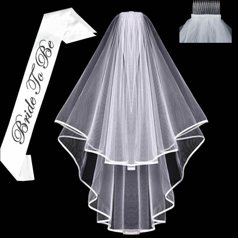 Branco curto vestido de Noiva Véu De Casamento Da Noiva Para Ser Faixa hen Bachelorette Partido Nupcial do Chuveiro Decoração presente de casamento Acessórios Para o cabelo