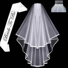 Velos de novia de boda corto nupcial blanco para ser fajín despedida de soltera fiesta despedida de soltera boda regalo accesorios para el cabello Decoración