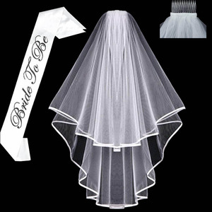 White short Bridal Wedding Veil Bride To Be Sash Bachelorette hen Party Bridal Shower marriage gift Decoration hair Accessories(China)