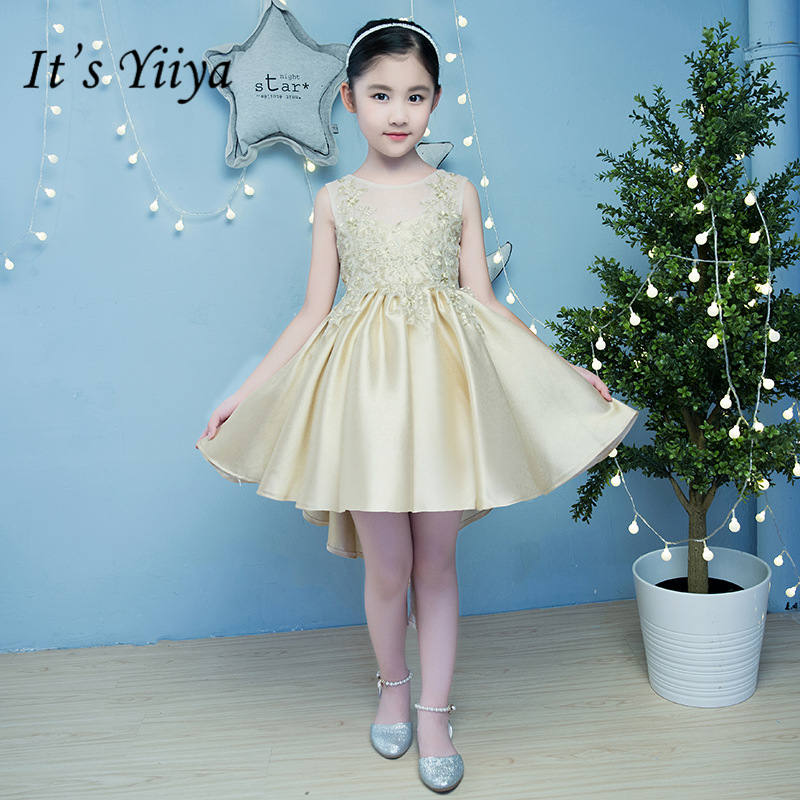 It's yiiya New O-neck Tailed   Flower     Girl     Dresses   Elegant O-neck Birthday Bling Tank   Girl     Dress   TS242