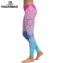 NADANBAO موضة ماندالا المرأة طماق للياقة البدنية متعدد الألوان ثلاثية الأبعاد مطبوعة تجريب Leggins الرياضية مطاطا الكاحل السراويل