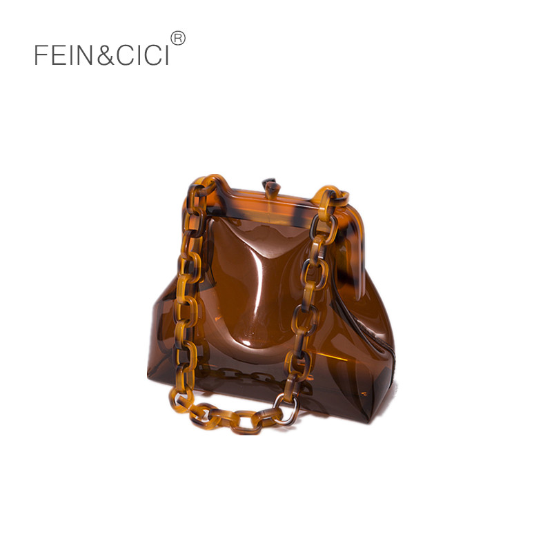 Ins Square Alligator Box Bags Handbags Retro Pu Leather Shoulder Bags For Women Acrylic Resin Chain Solid Color Clutch Non-Ironing Home
