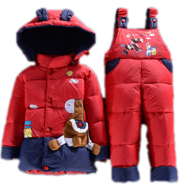 NEW 2016 toddler winter coat clothes sets duck down jacket sets pants-jacket hooded baby girls winter jacket & coat Pony pattern
