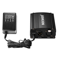 Neewer 1 Channel 48V Phantom Power Supply Black With Adapter One XLR Audio Cable For Any