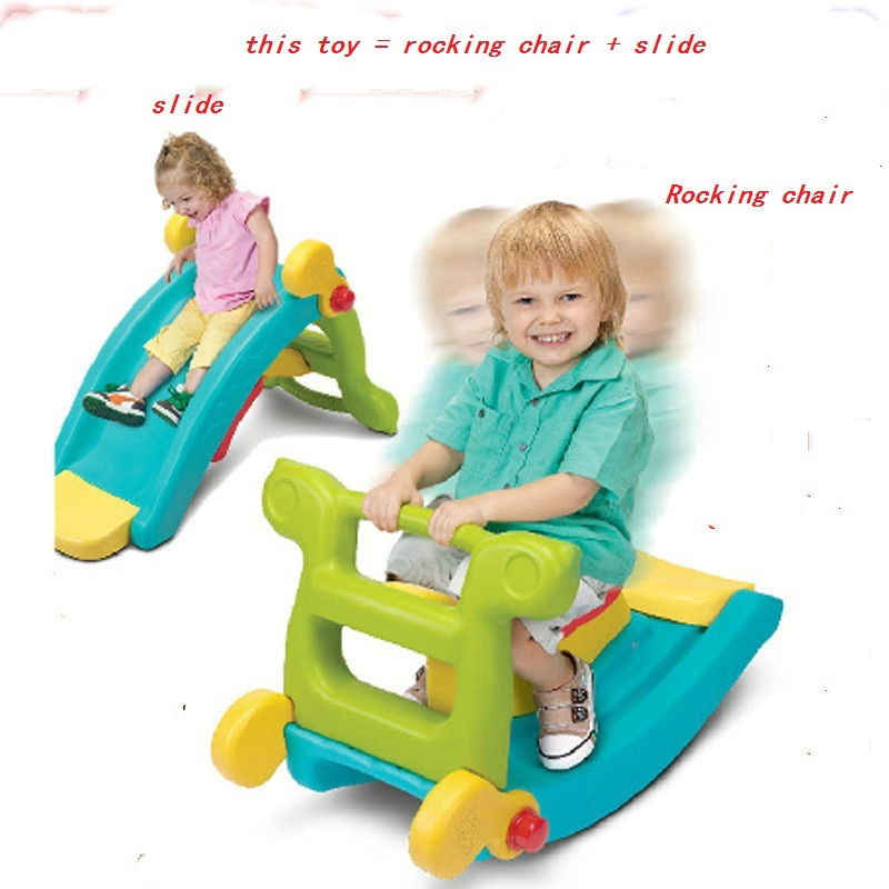 Toddler Toys Small Indoor Outdoor Kids Multifunctional Combined 2 In 1 Plastic Slide And Rocking Chair For Children