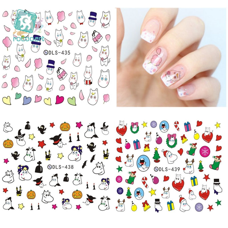 Rocooart DLS418-439 Small Water Transfer Foils Nail Art Sticker Cartoon Harajuku Christmas Fox Frog Decal Minx Nail Decoration dls c6 a