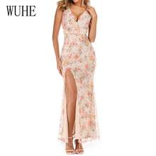 WUHE Elegant Floral Tassel Bling Sequins Long Dress Sexy V Neck High Split Bodycon Slim Summer Celebrity Party Club